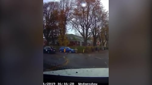 Shocking dashcam footage shows moment toddler narrowly misses death when he tumbles out of a moving taxi
