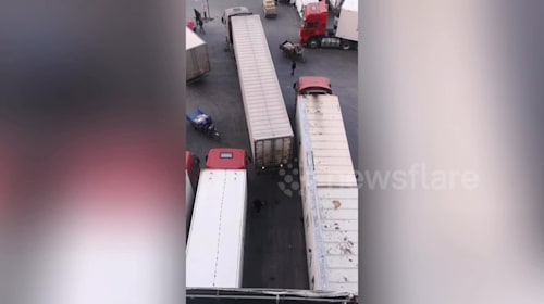 Container truck accurately reverses into narrow parking bay in eastern China