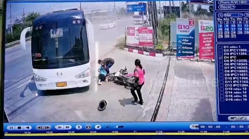 Thai woman miraculously escapes death after being thrown under bus from motorcycle