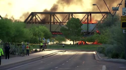 Arizona train derailment causes bridge collapse and fire