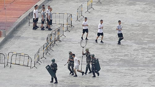 Hong Kong protests: Chinese security trial giant 'electric' fork devices