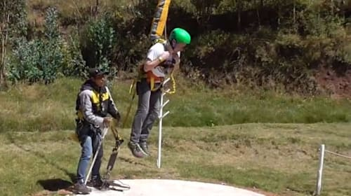 Man flung 400 feet into the air while riding Peru's largest reverse bungee