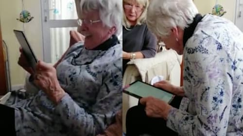Hilarious moment gran tries to use voice recognition software