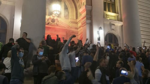 23 held, 60 hurt in clashes after Serbia's president reimposes lockdown