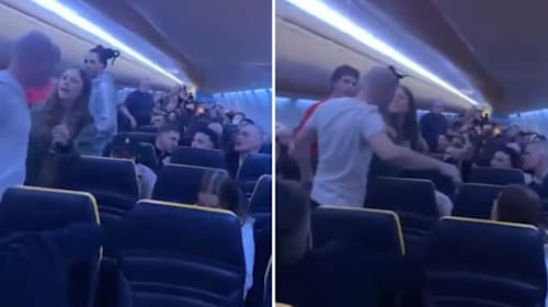 Passengers argue onboard delayed Ryanair flight at London Stansted Airport