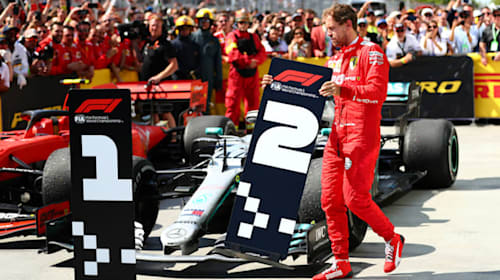 Defiant Vettel stuns Canada crowd by moving P2 sign to Hamilton's car