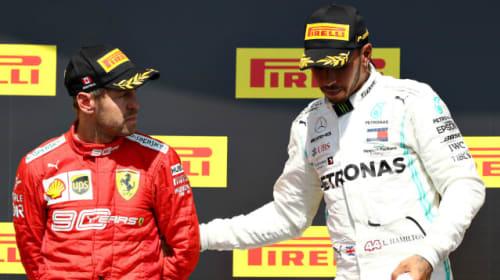 Awkward scenes as Vettel joins Hamilton before podium