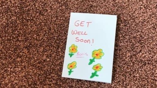 Children make 'get well soon' cards for Boris Johnson