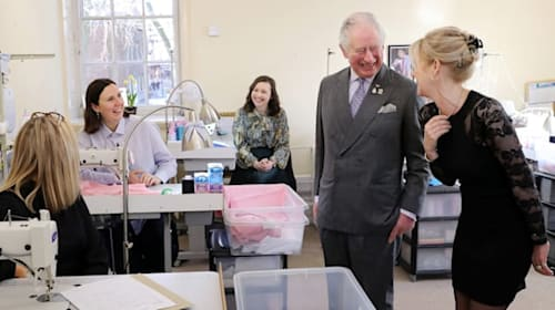 Charles jokes about 'battle' to stay in shape during visit to shirt maker