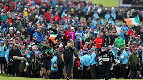 Crowds throng 18th fairway to hail Lowry's 'huge' Open victory