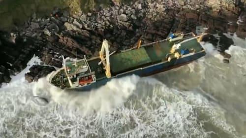Public urged to stay away from abandoned cargo ship washed up on Cork coastline