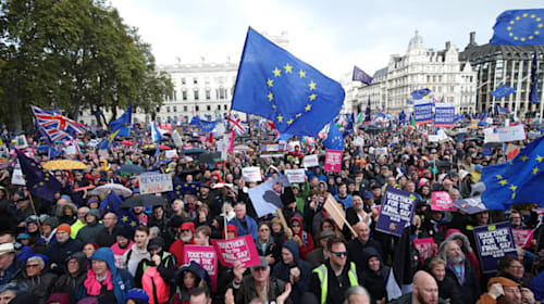Celebrities and politicians address huge crowds on People's Vote march