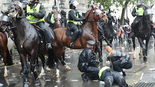 Horse bolts as police and demonstators clash at anti-racism rally
