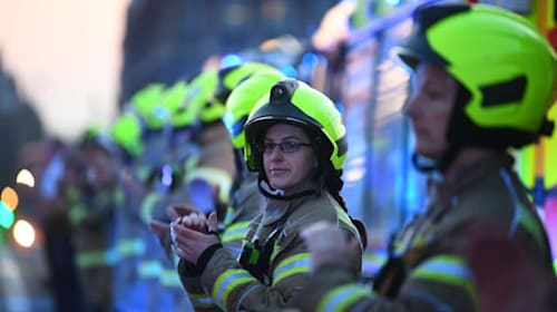 Police and firefighters join in 'Clap for Carers' weekly round of applause