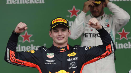Verstappen victorious as Ferrari pair blame each other for collision in Brazil