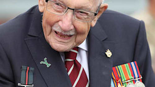 Captain Sir Tom Moore encourages public to remember British soldiers on VJ Day