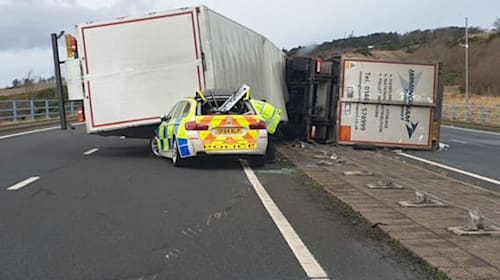 Policeman recalls lucky escape on 'Windy Bridge' as HGV toppled on to patrol car