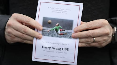 Harry Gregg mourners hear how he 'wanted to be remembered as a footballer'