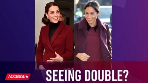 英キャサリン妃とメーガン妃、よく似た秋らしいバーガンディのコーデを披露し「まるで双子」と話題