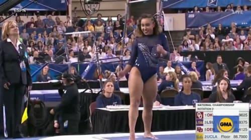 ノリノリの演技で注目の体操選手、ケイトリン・オオハシが大学最後の大会で観客を魅了【映像】