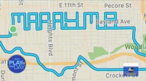 米男性、GPS機能を使ったサプライズプロポーズに成功!