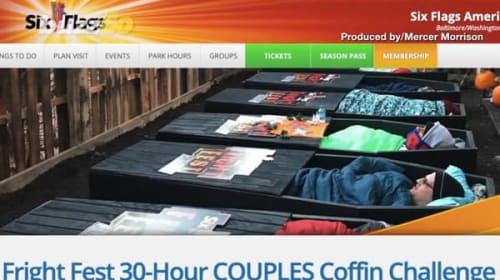 棺の中に30時間いたら賞金をゲットできる、カップル向けイベントが米国の遊園地で開催