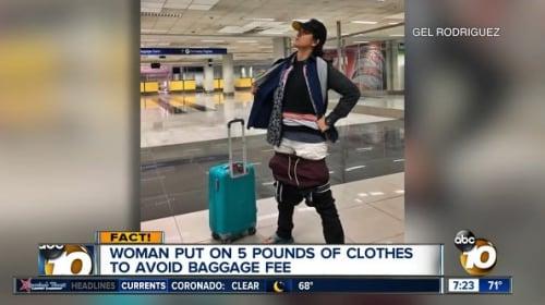 フィリピン人女性が、荷物の超過料金を支払わず搭乗するため大量の洋服を着込む