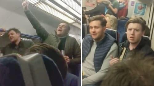 Brave couple confront group of men chanting vulgar songs train
