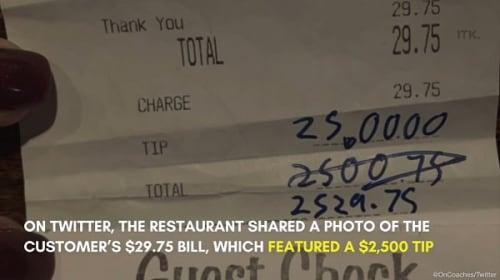 新型コロナの打撃を受けた米レストランで、粋な常連客が約27万円のチップを支払う
