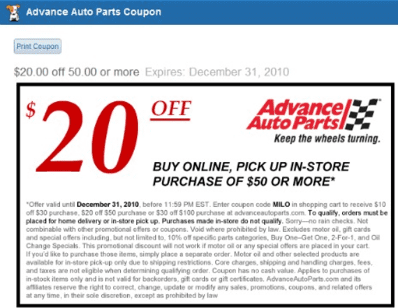 Advance Auto In Store Coupons >> Milo Adds Local Coupons To Searches For Products In Stock