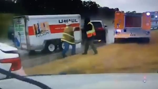 Oklahoma firemen run over by out-of-control U-Haul trailer