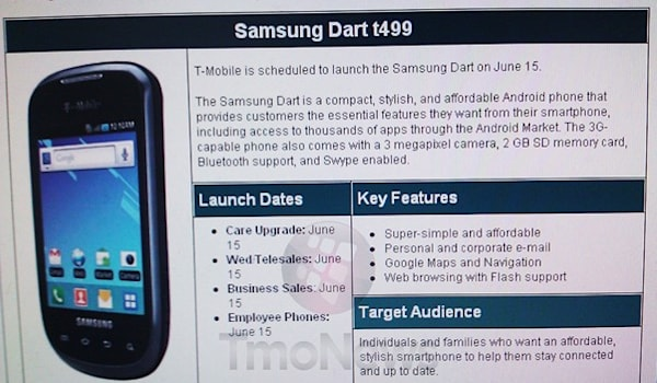 T-Mobile tossing Samsung Dart into its lineup on June 15th?