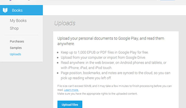 Google Play Books updated to allow user uploads, supports
