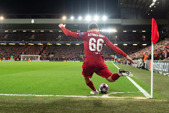 LIVERPOOL, ENGLAND - MARCH 11: (BILD ZEITUNG OUT) Trent Alexander-Arnold of Liverpool FC controls the ball during the UEFA Champions League round of 16 second leg match between Liverpool FC and Atletico Madrid at Anfield on March 11, 2020 in Liverpool, United Kingdom. (Photo by Max Maiwald/DeFodi Images via Getty Images)