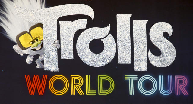 """BERLIN, GERMANY - FEBRUARY 17: The official Trolls poster during the photo call for """"Trolls World Tour"""" at Waldorf Astoria on February 17, 2020 in Berlin, Germany. (Photo by Isa Foltin/Getty Images)"""