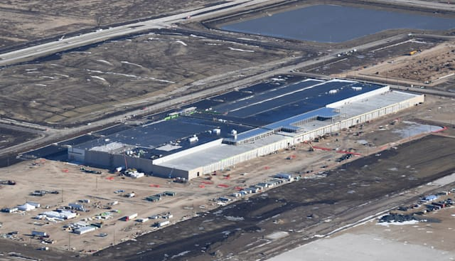 The Foxconn campus is shown under construction on January 6, 2020. A million-square-foot liquid crystal display factory, a 260,000-square-foot computer server manufacturing and assembly plant and a data center with offices are among structures planned for the Wisconsin site. (Mark Hertzberg/Chicago Tribune/Tribune News Service via Getty Images)