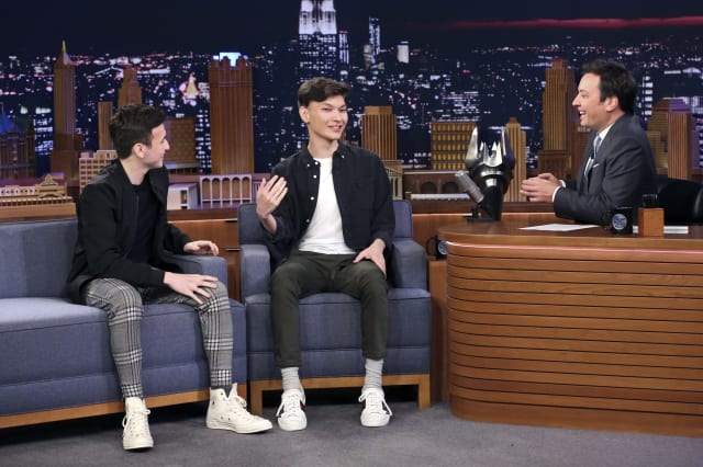 """THE TONIGHT SHOW STARRING JIMMY FALLON -- Episode 1135 -- Pictured: (l-r) Overwatch League champions Matthew """"Super"""" DeLisi and Jay """"Sinatraa"""" Won during an interview with host Jimmy Fallon on October 7, 2019 -- (Photo by: Andrew Lipovsky/NBCU Photo Bank/NBCUniversal via Getty Images via Getty Images)"""