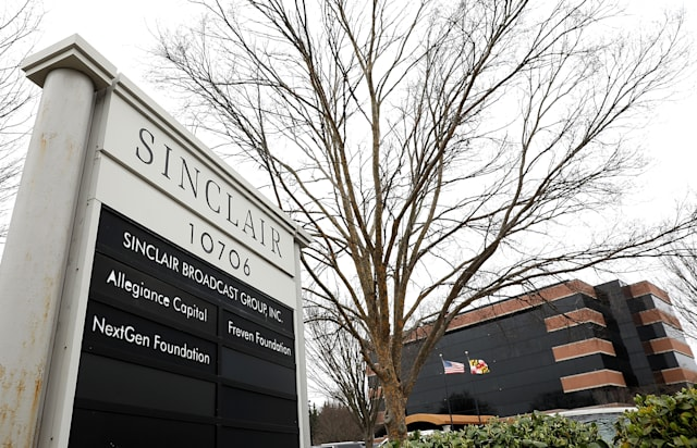 """HUNT VALLEY, MD - APRIL 03: The headquarters of the Sinclair Broadcast Group is shown April 3, 2018 in Hunt Valley, Maryland. The company, the largest owner of local television stations in the United States, has drawn attention recently for repeating claims by U.S President Donald Trump that traditional television and print publications offer """"fake"""" or biased news. (Photo by Win McNamee/Getty Images)"""
