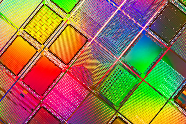 Multi Colored Computer Silicon Wafer Extreme Close-up Shot.