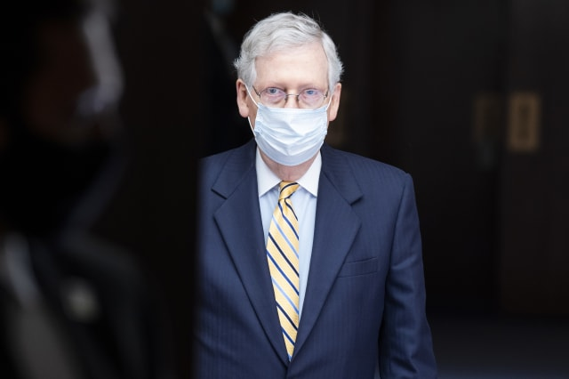 UNITED STATES - MAY 13: Senate Majority Leader Mitch McConnell, R-Ky., leaves the Senate Republican luncheon in Hart Building on Wednesday, May 13, 2020. (Photo By Tom Williams/CQ-Roll Call, Inc via Getty Images)
