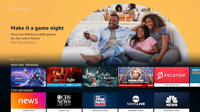 Amazon's #AtHome for Fire TV and Fire Tablet devices.