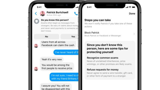 Facebook Messenger's scam alerts.