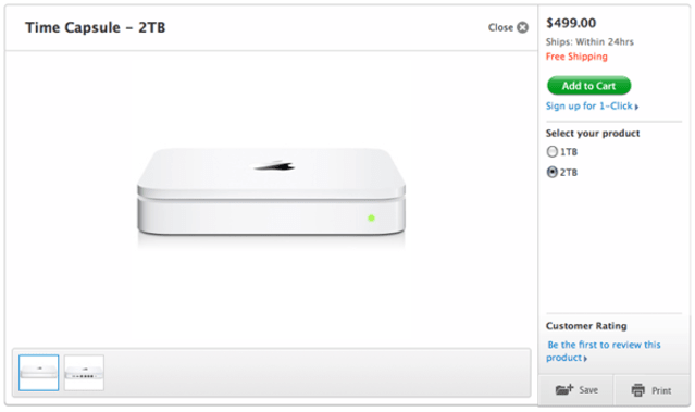 Apple unveils 2TB Time Capsule, ships today for $499