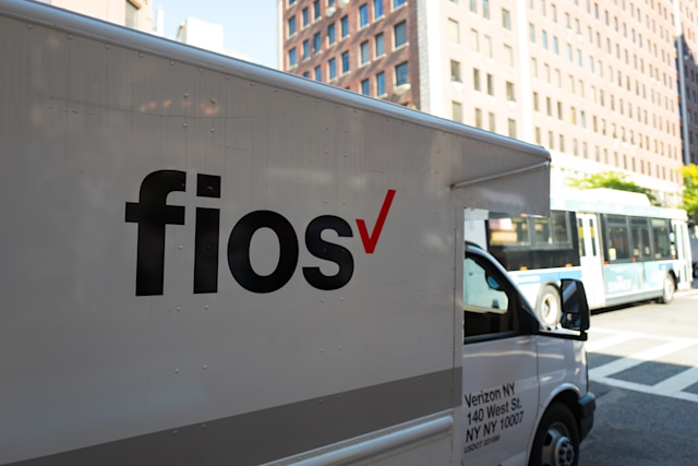 Logo for the Verizon Fios fiber optic internet service on the side of a truck on Madison Avenue on the Upper East Side of Manhattan, New York City, New York, September 15, 2017. (Photo by Smith Collection/Gado/Getty Images)