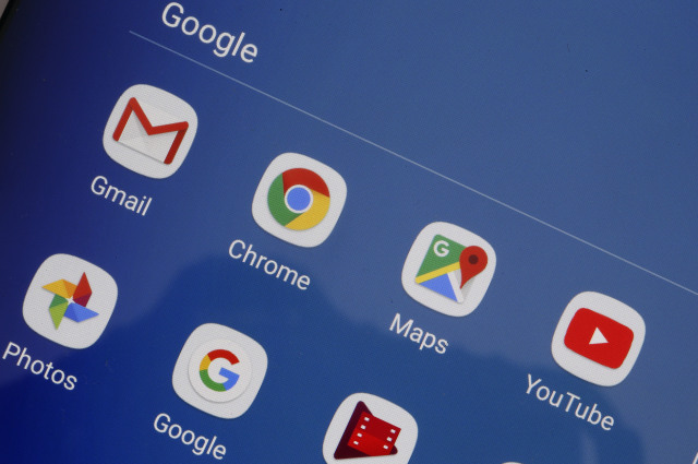 PARIS, FRANCE - OCTOBER 23: In this photo illustration, the logos of the applications, Gmail, Chrome, Google Maps, You Tube, Google photos and Google are displayed on the screen of a tablet on October 23, 2018 in Paris, France. After being fined 4.3 billion euros last June for a dominant position in research with its Android mobile operating system, Google has decided to comply by charging for its applications and the Play Store to manufacturers who want to sell their mobile devices in Europe and this without integrating Google Search and Google Chrome. From October 29, Google will implement a fairly complex license system for manufacturers who sell Android-powered mobile devices in Europe and want to install the Play Store and its other applications. (Photo Illustration by Chesnot/Getty Images)
