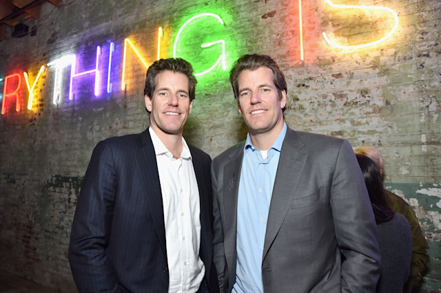 LOS ANGELES, CA - FEBRUARY 13:  Cameron Winklevoss (L) and Tyler Winklevoss attend Hauser & Wirth Los Angeles Opening of Annie Leibovitz and Piero Manzoni and Musical Performance by Patti Smith at Hauser & Wirth on February 13, 2019 in Los Angeles, California.  (Photo by Stefanie Keenan/Getty Images for Hauser & Wirth)