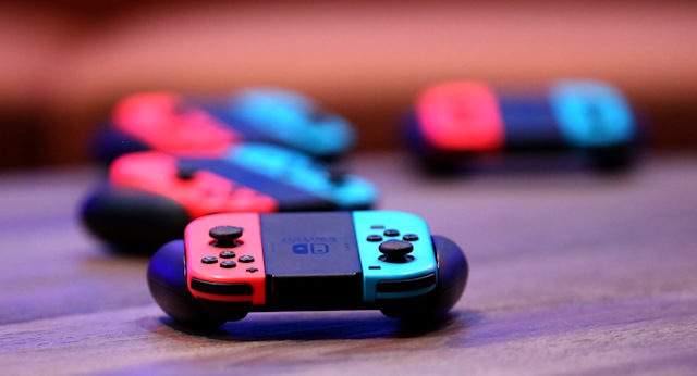 """LAS VEGAS, NEVADA - MARCH 24: Nintendo Joy-Con wireless controllers for the Nintendo Switch are displayed during the debut of Allied Esports' """"PlayTime With KittyPlays"""" esports variety show at HyperX Esports Arena Las Vegas at Luxor Hotel and Casino on March 24, 2019 in Las Vegas, Nevada. (Photo by Gabe Ginsberg/Getty Images)"""