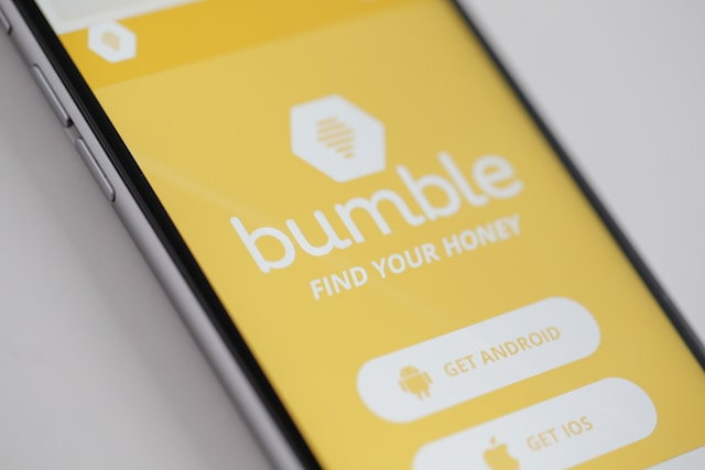 The Bumble app is seen on an iPhone on 16 March, 2017. The app is resembles Tindr in that it let's heterosexuals find each other however Bumble only lets female users start a conversation after interested parties have made a match. (Photo by Jaap Arriens/NurPhoto via Getty Images)