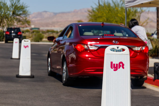 Las Vegas - Circa June 2019: Lyft Las Vegas Hub. Lyft and Uber have replaced many Taxi cabs with a smart phone app VII