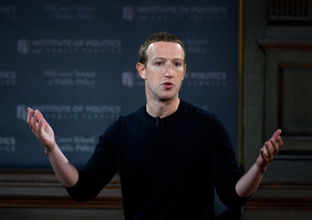 "Facebook founder Mark Zuckerberg speaks at Georgetown University in a 'Conversation on Free Expression"" in Washington, DC on October 17, 2019. (Photo by ANDREW CABALLERO-REYNOLDS / AFP) (Photo by ANDREW CABALLERO-REYNOLDS/AFP via Getty Images)"